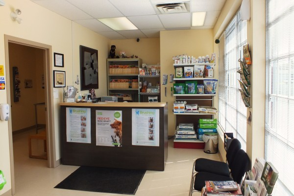 veterinary reception area